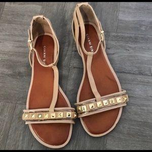 Gianni Bini tan and gold sandals